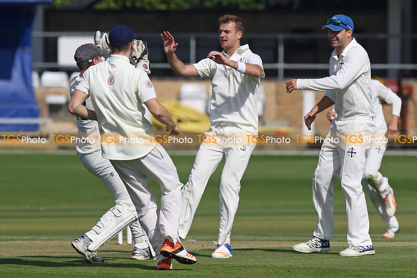 Xavier Owen of Durham celebrates taking the wicket of Tom Westley during Essex CCC vs Durham MCCU, English MCC University Match Cricket at The Cloudfm County Ground on 2nd April 2017