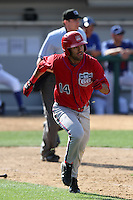 Brian Hernandez #14 of the Inland Empire 66'ers runs to first base against the Rancho Cucamonga Quakes at The Epicenter on April 8, 2012 in Rancho Cucamonga,California. Inland Empire defeated Rancho Cucamonga 7-1.(Larry Goren/Four Seam Images)