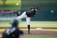 Kannapolis Intimidators starting pitcher Blake Hickman (33) delivers a pitch to the plate against the Hagerstown Suns at Kannapolis Intimidators Stadium on July 10, 2017 in Kannapolis, North Carolina.  The Suns defeated the Intimidators 8-5.  (Brian Westerholt/Four Seam Images)