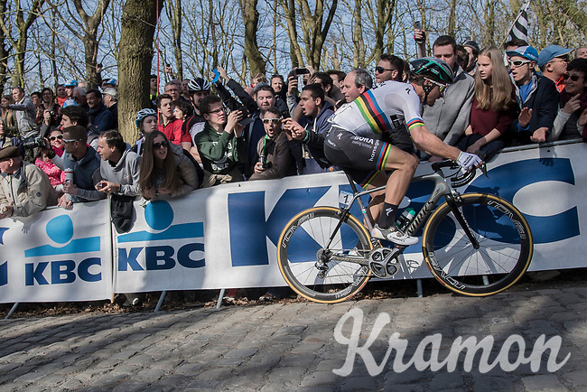 World Champion Peter Sagan (SVK/Bora-Hansgrohe) up the Kemmelberg<br /> <br /> 79th Gent-Wevelgem 2017 (1.UWT)<br /> 1day race: Deinze &rsaquo; Wevelgem - BEL (249km)