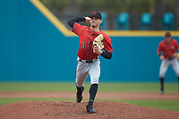 San Diego State Aztecs relief pitcher Casey O'Sullivan (13) in action against the UNCG Spartans at Springs Brooks Stadium on February 16, 2020 in Conway, South Carolina. The Spartans defeated the Aztecs 11-4.  (Brian Westerholt/Four Seam Images)