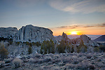 Idaho, South Central, Almo. Sunrise in City of Rocks in spring.
