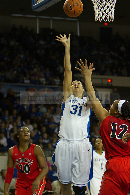 Junior C Samantha Drake (31) takes a hook shot during the UK Hoops vs Georgia Women's Basketball game in Lexington, Ky., on Sunday, February 3, 2013. Photo by Matt Burns | Staff