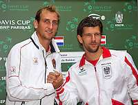 11-sept.-2013,Netherlands, Groningen,  Martini Plaza, Tennis, DavisCup Netherlands-Austria, Draw,   Thiemo de Bakker (NED) plays Jurgen Melzer(AUT)<br /> Photo: Henk Koster