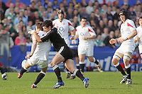 England out half Gareth Griffiths just gets his kick away under pressure from New Zealand out half Daniel Kirkpatrick during the Division A U19 World Chanpionship match at Ravenhill, Belfast.