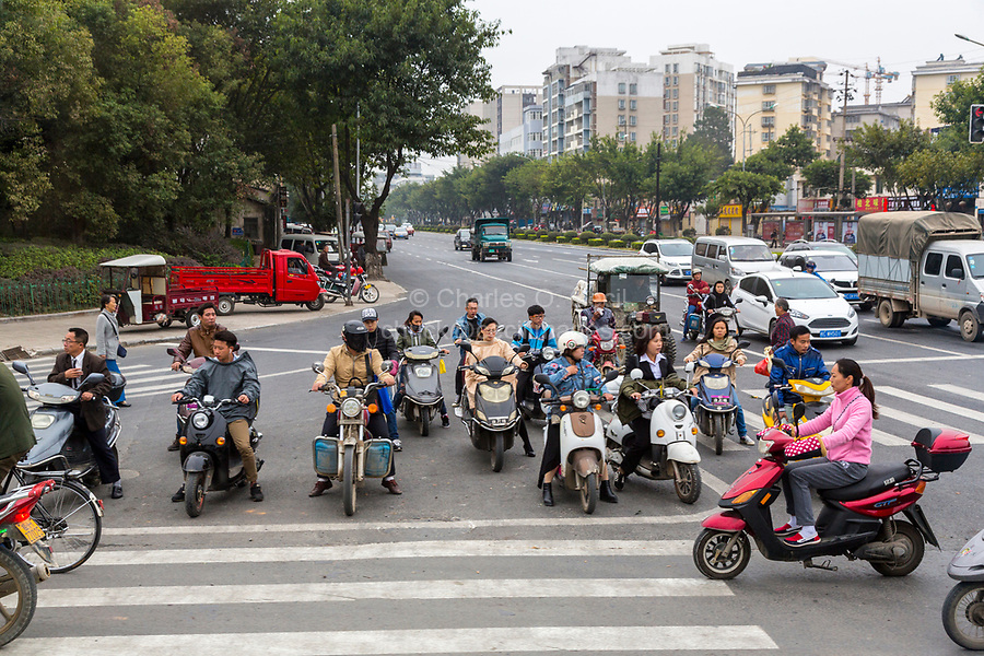 Guilin, China.  Urban Steet Traffic at an Intersection.