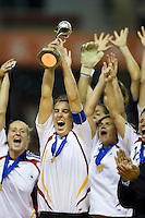 German captain Birgit Prinz celebrates with the Women's World Cup Trophy after the FIFA Women's World Cup final at Hongkou Stadium in Shanghai, China on September 30, 2007.  Germany defeated Brazil, 2-0.