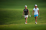TAOYUAN, TAIWAN - OCTOBER 26:  Hee Young Park of South Korea and Danielle Kang of USA walk on the 18th hole during the day two of the Sunrise LPGA Taiwan Championship at the Sunrise Golf Course on October 26, 2012 in Taoyuan, Taiwan. Photo by Victor Fraile / The Power of Sport Images