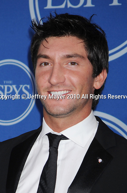LOS ANGELES, CA. - July 14: Olympic Skater Evan Lysacek poses in press room during 2010 ESPY Awards at Nokia Theatre L.A. Live on July 14, 2010 in Los Angeles, California.