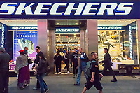 """A Skechers store in Times Square in New York on Tuesday, June 6, 2017. Skechers has recently been upgraded to """"positive"""" from its previous rating of """"neutral"""" by Susquehanna Financial citing future growth in the company's domestic wholesale business. (© Richard B. Levine)"""
