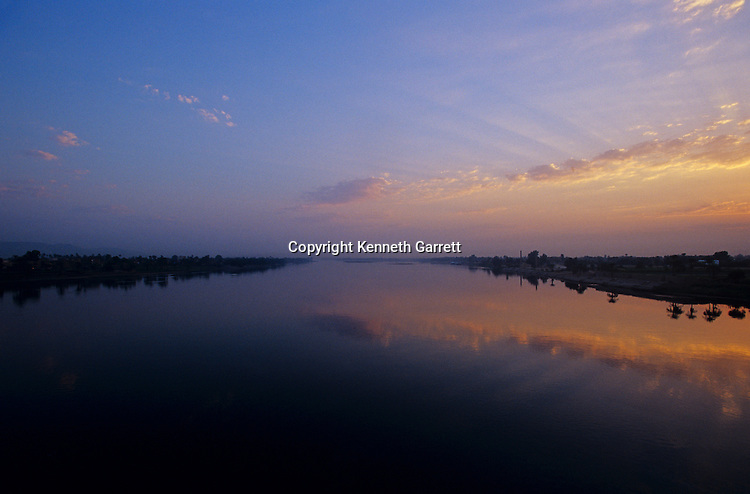 Nile River scenic, near Thebes, Luxor, Egypt, sunrise