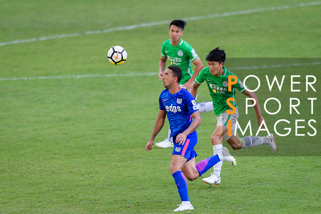 Kitchee Forward Fernando Azevedo Pedreira (L) in action during the Hong Kong FA Cup final between Kitchee and Wofoo Tai Po at the Hong Kong Stadium on May 26, 2018 in Hong Kong, Hong Kong. Photo by Marcio Rodrigo Machado / Power Sport Images
