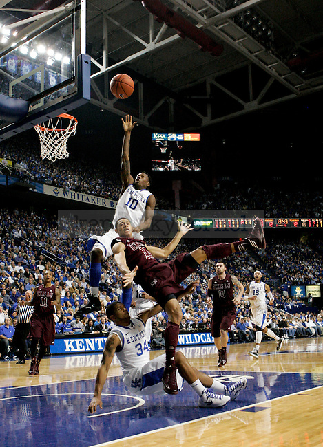 Freshman Archie Goodwin goes up for a rebound during the first half of the Men's Basketball game vs. Texas A&M at the Rupp Arena in Lexington, Ky., on Saturday, January 12, 2013..