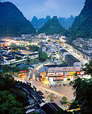 CHINA, Guilin, elevated view of Guilin and limestone spires at dusk