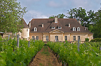 The chateau viewed across the vineyard Chateau Bouscaut Cru Classe Cadaujac Graves Pessac Leognan Bordeaux Gironde Aquitaine France