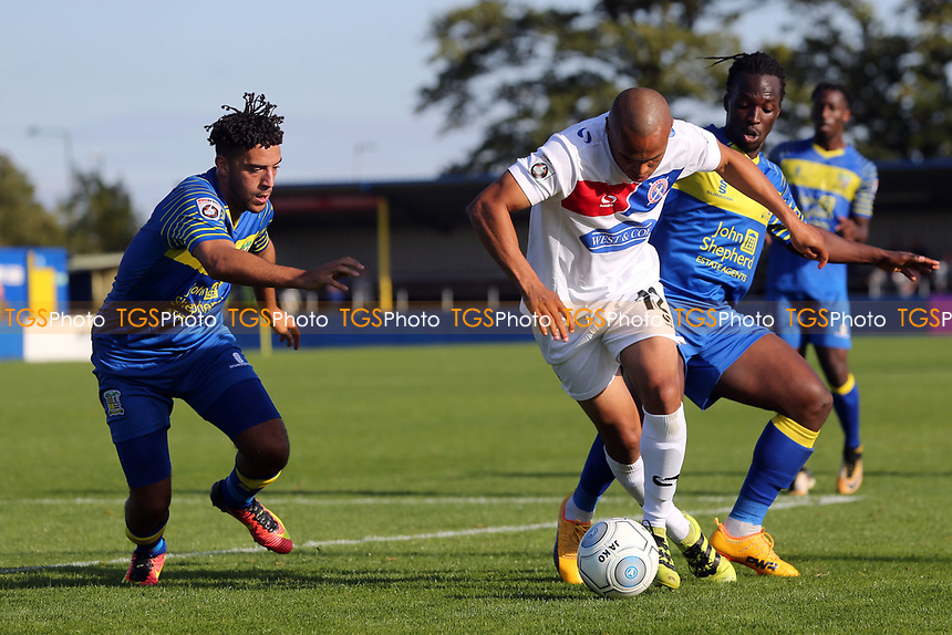 Elliott Romain of Dagenham and Kristian Green and Courtney Richards of Solihull Moors during Solihull Moors vs Dagenham & Redbridge, Vanarama National League Football at the Autotech Stadium on 23rd September 2017