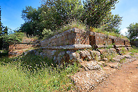 "An Etruscan street showing a square Etruscan ""dado: (dice) tomb, 6th century BC,  Necropoli della Banditaccia, Cerveteri, Italy. A UNESCO World Heritage Site"