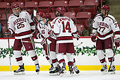 Wiley Sherman (Harvard - 25), Ryan Donato (Harvard - 16), Adam Fox (Harvard - 18), Alexander Kerfoot (Harvard - 14), Lewis Zerter-Gossage (Harvard - 77) - The Harvard University Crimson defeated the US National Team Development Program's Under-18 team 5-2 on Saturday, October 8, 2016, at the Bright-Landry Hockey Center in Boston, Massachusetts.