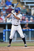 Asheville Tourists second baseman Michael Benjamin #18 awaits a pitch during a game against the Savannah Sand Gnats at McCormick Field July 16, 2014 in Asheville, North Carolina. The Tourists defeated the Sand Gnats 6-3. (Tony Farlow/Four Seam Images)