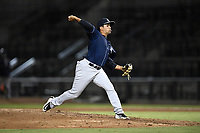 Relief pitcher Carlos Espinal (7) of the Charleston RiverDogs delivers a pitch during a game against the Columbia Fireflies on Tuesday, August 28, 2018, at Spirit Communications Park in Columbia, South Carolina. Columbia won, 11-2. (Tom Priddy/Four Seam Images)