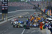 Verizon IndyCar Series<br /> Indianapolis 500 Race<br /> Indianapolis Motor Speedway, Indianapolis, IN USA<br /> Sunday 28 May 2017<br /> Ed Carpenter, Ed Carpenter Racing Chevrolet and Alexander Rossi, Andretti Herta Autosport with Curb-Agajanian Honda make pit stops at the front of the field.<br /> World Copyright: F. Peirce Williams<br /> LAT Images