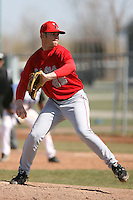 April 5, 2009:  Pitcher Scott Brothers Jr. of the Ball State Cardinals during a game at Amherst Audubon Field in Buffalo, NY.  Photo by:  Mike Janes/Four Seam Images