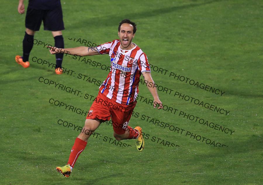Fudbal Jelen super league season 2013-2014<br /> Crvena Zvezda v Rad <br /> Dragan Mrdja celebrates the goal<br /> Beograd, 05.03.2014.<br /> foto: Srdjan Stevanovic/Starsportphoto&copy;