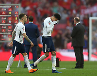 A dejected Tottenham Hotspur's Dele Alli at the end of the game<br /> <br /> Photographer Rob Newell/CameraSport<br /> <br /> Emirates FA Cup - Emirates FA Cup Semi Final - Manchester United v Tottenham Hotspur - Saturday 21st April 2018 - Wembley Stadium - London<br />  <br /> World Copyright &copy; 2018 CameraSport. All rights reserved. 43 Linden Ave. Countesthorpe. Leicester. England. LE8 5PG - Tel: +44 (0) 116 277 4147 - admin@camerasport.com - www.camerasport.com