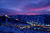 Overview of Town of Park City and Ski Area at dusk.