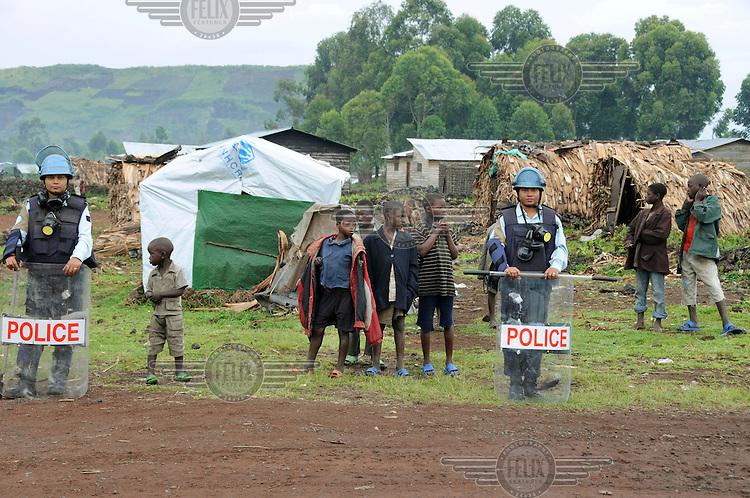 UN Security at the Kibati refugee camp. .
