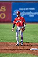 Jeremiah Jackson (23) shortstop of the Orem Owlz on defense against the Ogden Raptors at Lindquist Field on September 3, 2019 in Ogden, Utah. The Raptors defeated the Owlz 12-0. (Stephen Smith/Four Seam Images)
