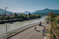 race leaders (including later winner Laura Stigger/AUT) with 2km to go<br /> <br /> WOMEN JUNIOR ROAD RACE<br /> Rattenberg to Innsbruck: 71.7 km<br /> <br /> UCI 2018 Road World Championships<br /> Innsbruck - Tirol / Austria