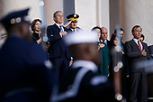 Former US President George W Bush, former First Lady Laura Bush and members of the Bush family look on as a joint service members of a military casket team carry the casket of former President George H. W. Bush into the US Capitol, where he will lie in state until Wednesday morning in Washington, DC, USA, 03 December 2018. Bush will lie in state in the Capitol Rotunda before his state funeral at the Washington National Cathedral 05 December. George H.W. Bush, the 41st President of the United States (1989-1993), died at the age of 94 on 30 November 2018 at his home in Texas.