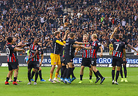 Siegesjubel Eintracht Frankfurt mit Ante Rebic (Eintracht Frankfurt) - 29.08.2019: Eintracht Frankfurt vs. Racing Straßburg, UEFA Europa League, Qualifikation, Commerzbank Arena<br /> DISCLAIMER: DFL regulations prohibit any use of photographs as image sequences and/or quasi-video.