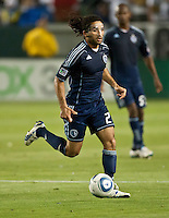 CARSON, CA – May 14, 2011: Sporting KC midfielder Stephane Auvray (27) during the match between LA Galaxy and Sporting Kansas City at the Home Depot Center in Carson, California. Final score LA Galaxy 4, Sporting Kansas City 1.