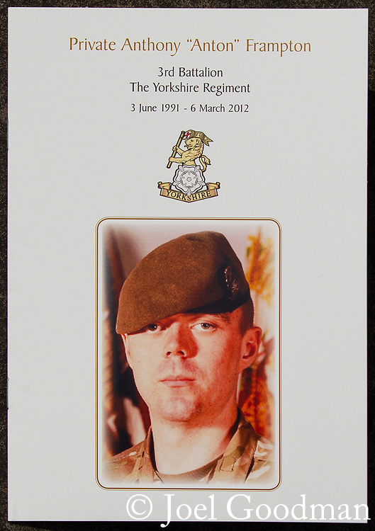 © Joel Goodman - 07973 332324 . 02/05/2012 .  Huddersfield, UK . Front cover of the order of service . The funeral of Private Anthony Frampton of the 3rd Battalion The Yorkshire Regiment at Huddersfield Parish Church. The Private, also known as Anton, was killed alongside five colleagues by a roadside IED in Afghanistan. Photo credit: Joel Goodman