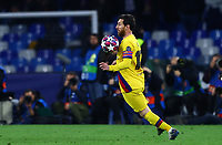 25th February 2020; Stadio San Paolo, Naples, Campania, Italy; UEFA Champions League Football, Napoli versus Barcelona; Lionel Messi of Barcelona brings the ball down on his chest