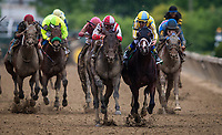 BALTIMORE, MD - MAY 20:  Cloud Computing #2 ridden by Javier Castellano overtakes Classic Empire #5 and Julien Leparoux to win the Preakness Stakes at Pimlico Race Course on May 20, 2017 in Baltimore, Maryland. (Photo by Alex Evers/Eclipse Sportswire/Getty Images)