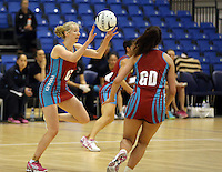 29.09.2014 Kapi Mana's Camilla Lees in action during the Dunedin v Kapi Mana match duing the Lion Foundation Netball Champs at the Trusts Stadium in Auckland. Mandatory Photo Credit ©Michael Bradley.