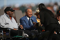 SAN FRANCISCO, CA - AUGUST 11:  Former San Francisco Giants players Willie McCovey and Juan Marichal talk before the ceremony to retire the #25 jersey of Barry Bonds before the game between the Pittsburgh Pirates and San Francisco Giants at AT&T Park on Saturday, August 11, 2018 in San Francisco, California. (Photo by Brad Mangin)