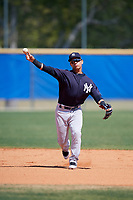 New York Yankees Eduardo Torrealba (1) during practice before a Minor League Spring Training game against the Toronto Blue Jays on March 18, 2018 at Englebert Complex in Dunedin, Florida.  (Mike Janes/Four Seam Images)