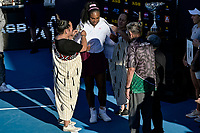 12th January 2020, Auckland, New Zealand;  Serena Williams (USA) is presented with a Maori cloak during the winners presentation at the 2020 Women's ASB Classic at the ASB Tennis Centre, Auckland, New Zealand.