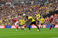 Adam Hammill of Barnsley scores his side's 3rd goal to make it 3-1 during the Johnstone's Paint Trophy Final match between Oxford United and Barnsley at Wembley Stadium, London, England on 3 April 2016. Photo by Alan  Stanford / PRiME Media Images.
