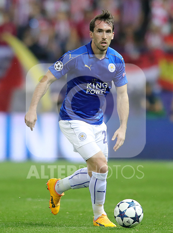 Leicester City FC's Christian Fuchs during Champions League 2016/2017 Quarter-finals 1st leg match. April 12,2017. (ALTERPHOTOS/Acero)
