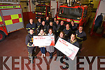 Grace O'Donnell and Shauna Lynch, Kare4Kids, and Mary Lynch, Kerry Cancer Support Group received Cheques from Tralee Fire service, presented by Nathan Tadier, John O'Donnell  and Crew members Michael Collins, Gearth Elbell, P.J. O'Dowd, Mark Rael, Tommy Kelliher, Nigel Connor, John Fitzgerald, Dave Hogan Maurice Griffin, Bill Lalor,  Brian McKivergan at the Station on Monday