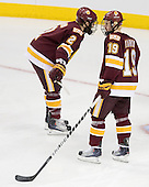 Brady Lamb (Duluth - 2), Max Tardy (Duluth - 19) - The University of Minnesota-Duluth Bulldogs defeated the University of Michigan Wolverines 3-2 (OT) to win the 2011 D1 National Championship on Saturday, April 9, 2011, at the Xcel Energy Center in St. Paul, Minnesota.