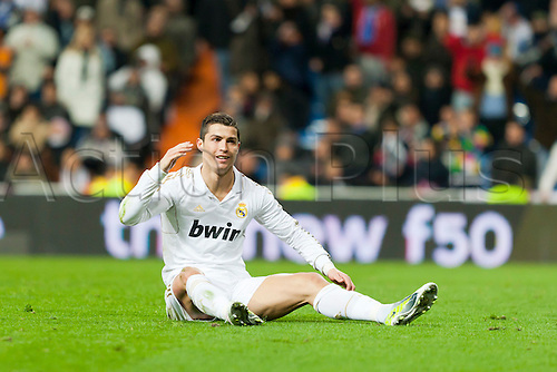 28.01.2012 Madrid, Spain,Real Madrids Cristiano in action during the Spanish League mach between Real Madrid and real Zaragoza played at the Santiago Benabeau Stadium.
