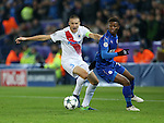 Leicester's Demarai Gray tussles with Brugge's <br /> Timmy Simons during the Champions League group B match at the King Power Stadium, Leicester. Picture date November 22nd, 2016 Pic David Klein/Sportimage