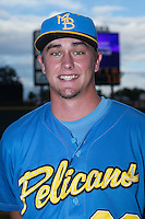 Myrtle Beach Pelicans relief pitcher David Berg (28) poses for a photo prior to the game against the Winston-Salem Dash at BB&T Ballpark on August 18, 2015 in Winston-Salem, North Carolina.  The game was rained out.  (Brian Westerholt/Four Seam Images)