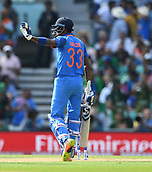 June 18th 2017, The Kia Oval, London, England;  ICC Champions Trophy Cricket Final; India versus Pakistan; Hardik Pandya of India takes the crowds applause as he celebrates his 50 runs